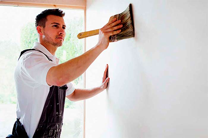 licensed painter painting a room